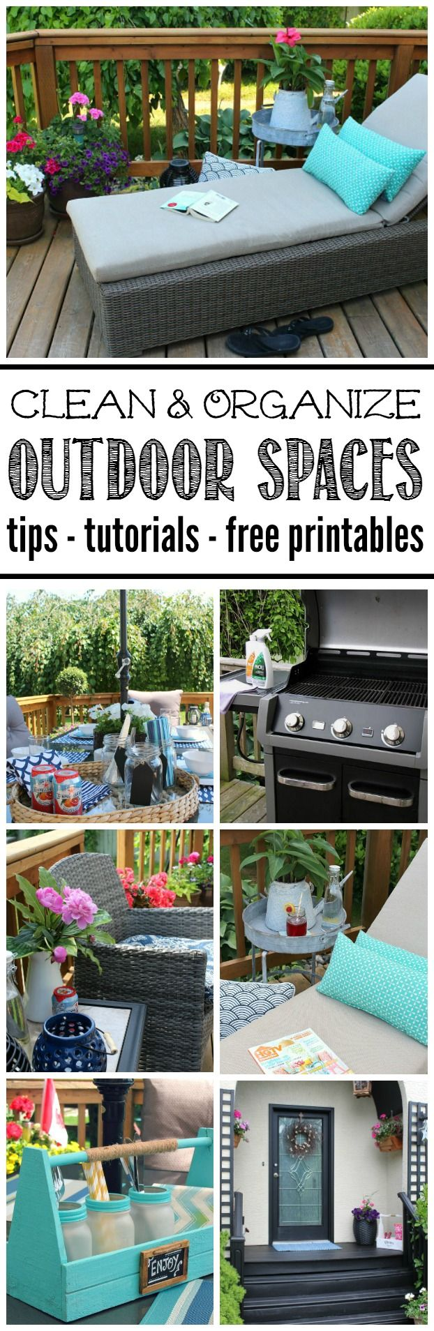 Get your outdoor spaces cleaned, organized, and ready for summer! Tons of cleaning tips, easy DIY projects, decor ideas, and free printables included!