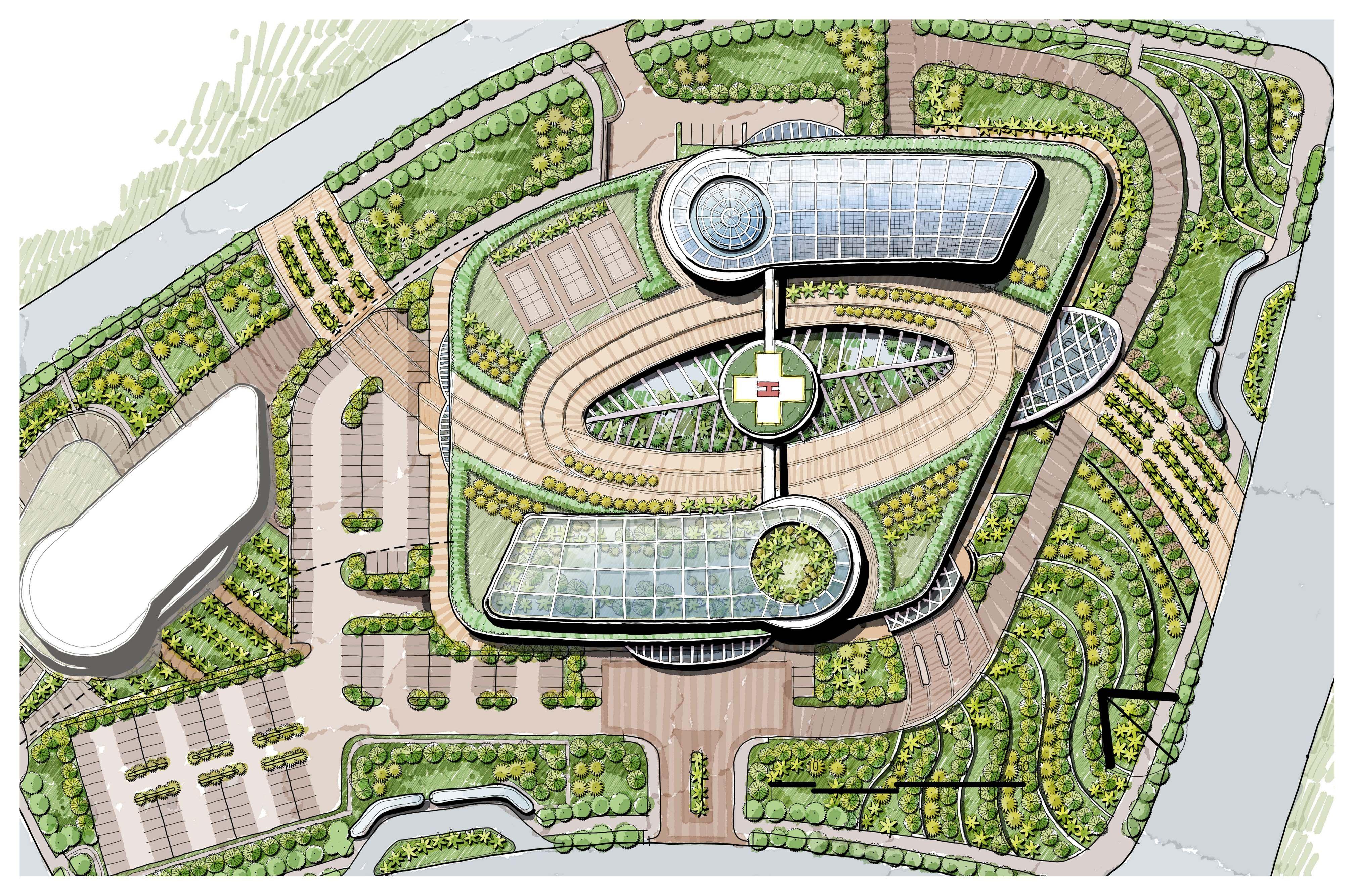 modern landscape master plan, sunken garden, green house, hospital
