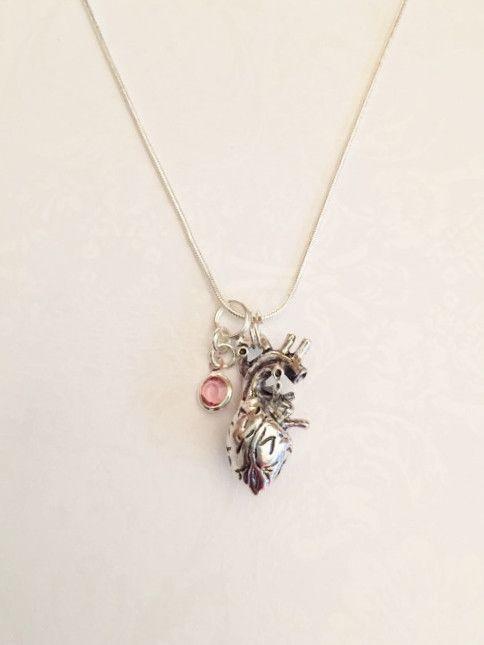 Human Anatomical Heart Necklace Anatomy Heart with Swarovski ...