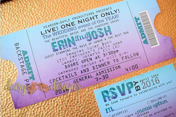 concert ticket invitation wedding ticket invite concert ticket
