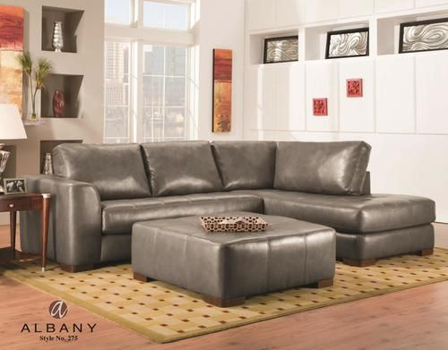 Albany Como Grey Bonded Leather Sectional Sofa 275GRYINV Leather
