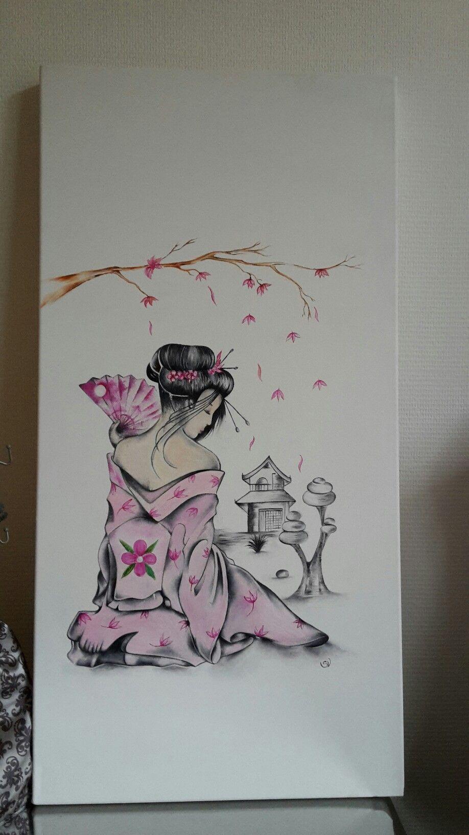 geisha huile sur toile japon pinterest peinture dessin dessin y peinture. Black Bedroom Furniture Sets. Home Design Ideas