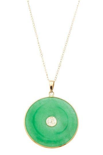 "14K Yellow Gold Green China Jade ""Good Luck"" Pendant Necklace"