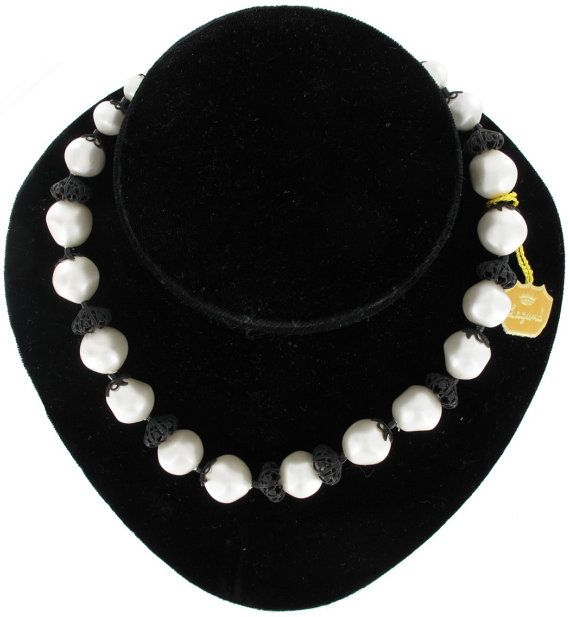 Laguna White Faux Pearls Black Filigree Accents by KensieKitsch