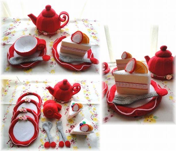 [受注生産] フェルト製 赤のショートケーキセット♪ 2x
