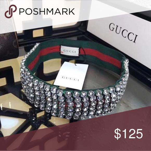 232eee2f478 Gucci Crystal Embellished Headband Gucci Web stripes color a soft ...