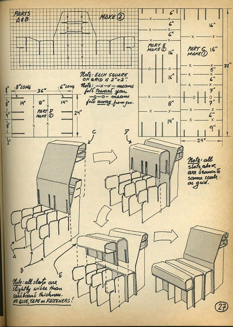 Nomadic Furniture 1 | Cartón, Silla de cartón y Planos