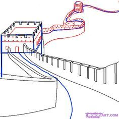 how to draw the great wall of china step 3
