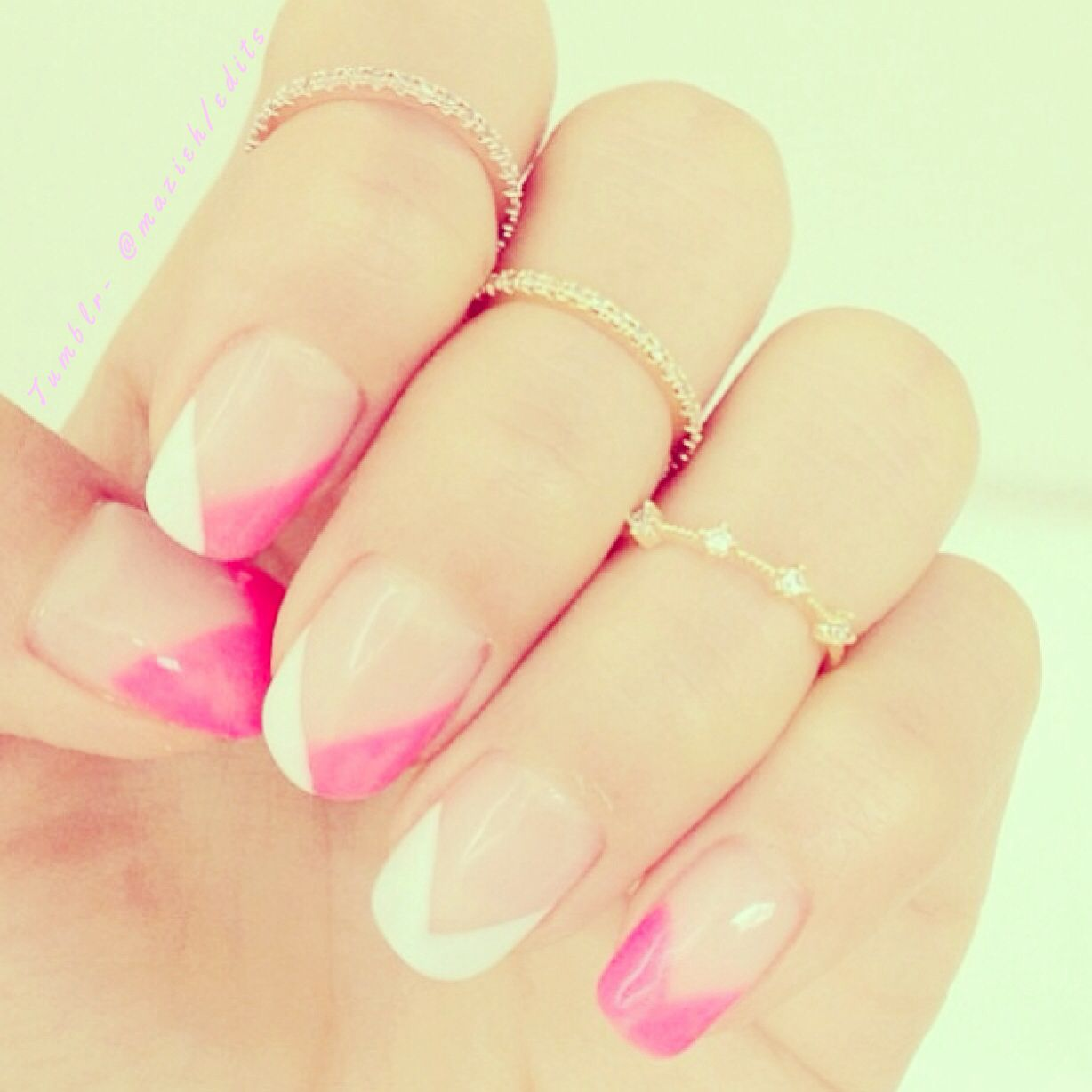 Pink and white nail design