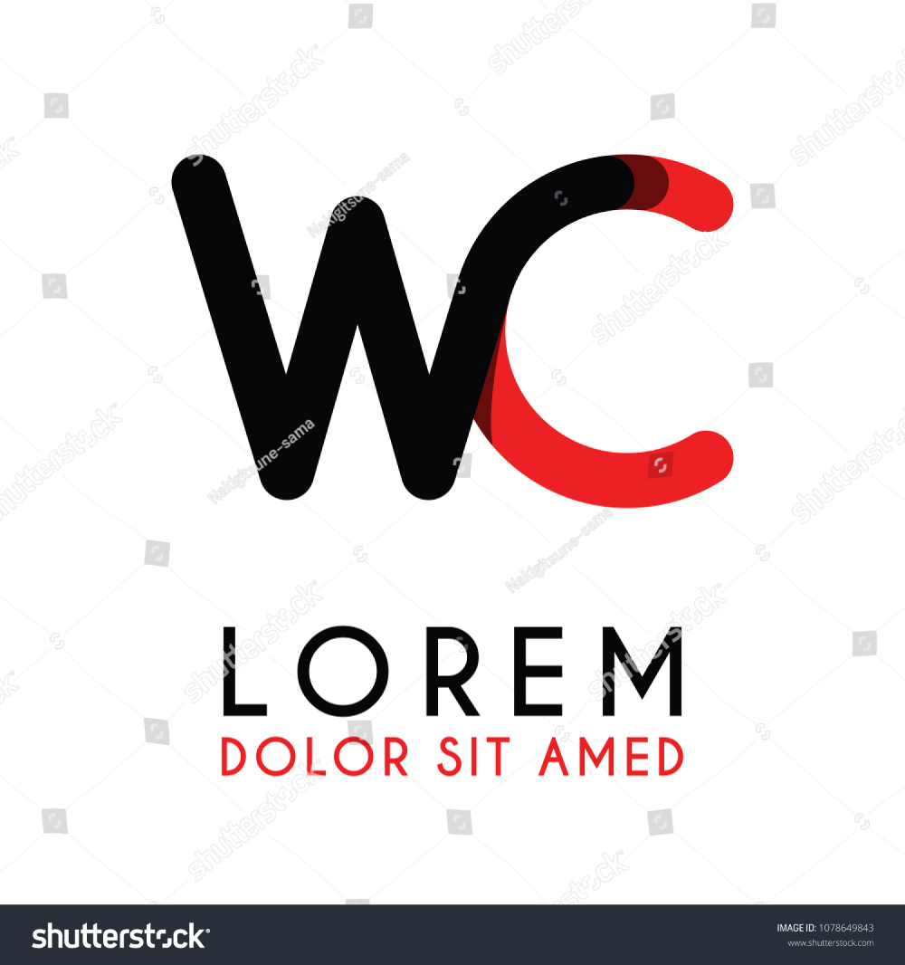 Initial Letter WC With Red Black And Has Rounded Corners