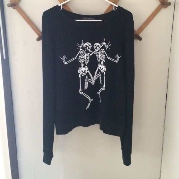 "•Wildfox• Dancing Skeletons Baggy Beach Jumper •Excellent preowned condition - still very soft with typical Wildfox pilling - no stains or tears  •Tagged M - could fit XS to L depending on desired fit   •Color is ""Jet Black""  •Paid a little more than retail, so just trying to make some of that back - Now sold out   •Will post my own photos ASAP Wildfox Tops Sweatshirts & Hoodies"