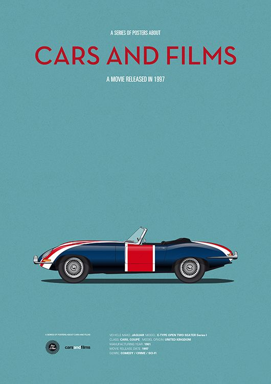 Poster Of The Car From Austin Powers Illustration Jesús Prudencio - Famous movie cars beautifully illustrated