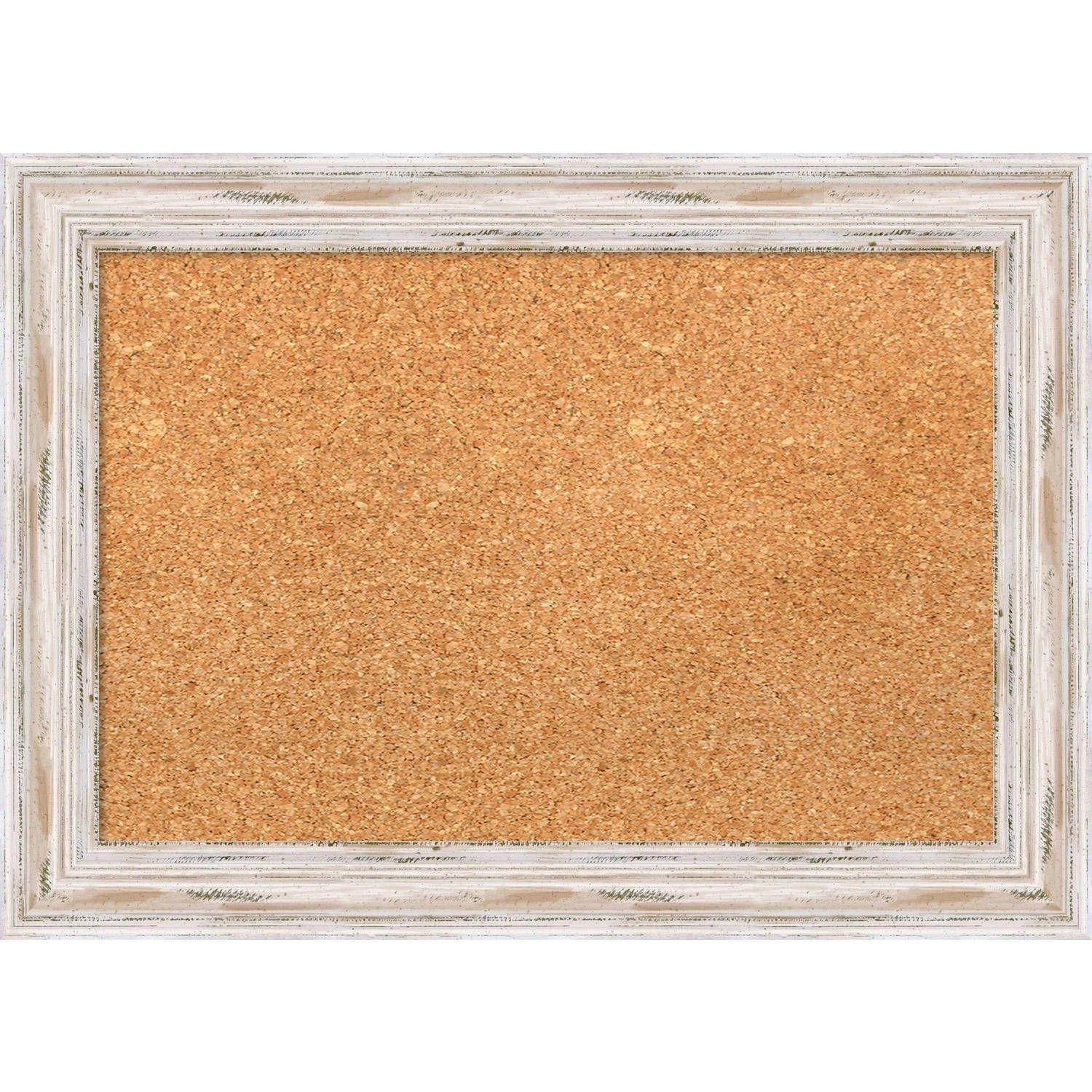 Amanti Art Framed Cork Board Alexandria White Wash Small 22 X 16 Inch Beige Off