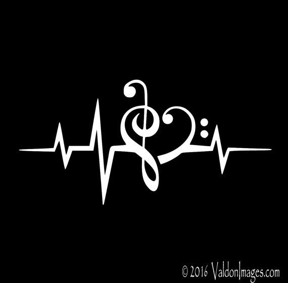 Heartbeat Music Note Decal Car Decal Laptop Decal Music Car Decal