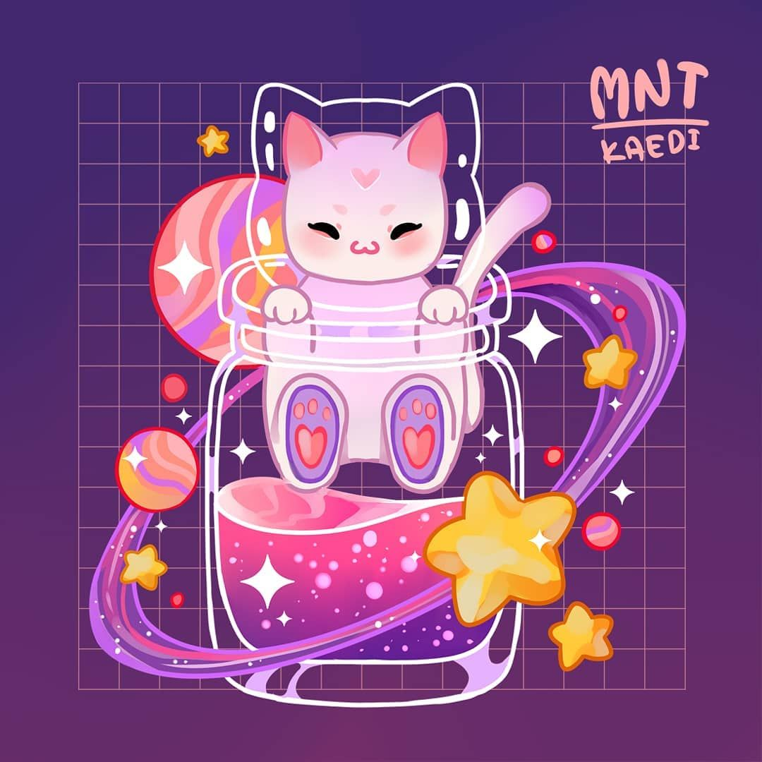 "Kaedi on Instagram: ""Have a little cat space potion to brighten your day~ 💗💜💗💜😽 . . . #illustration #catspace #space #spaceart #catgalaxy #galaxy #illustration…"""