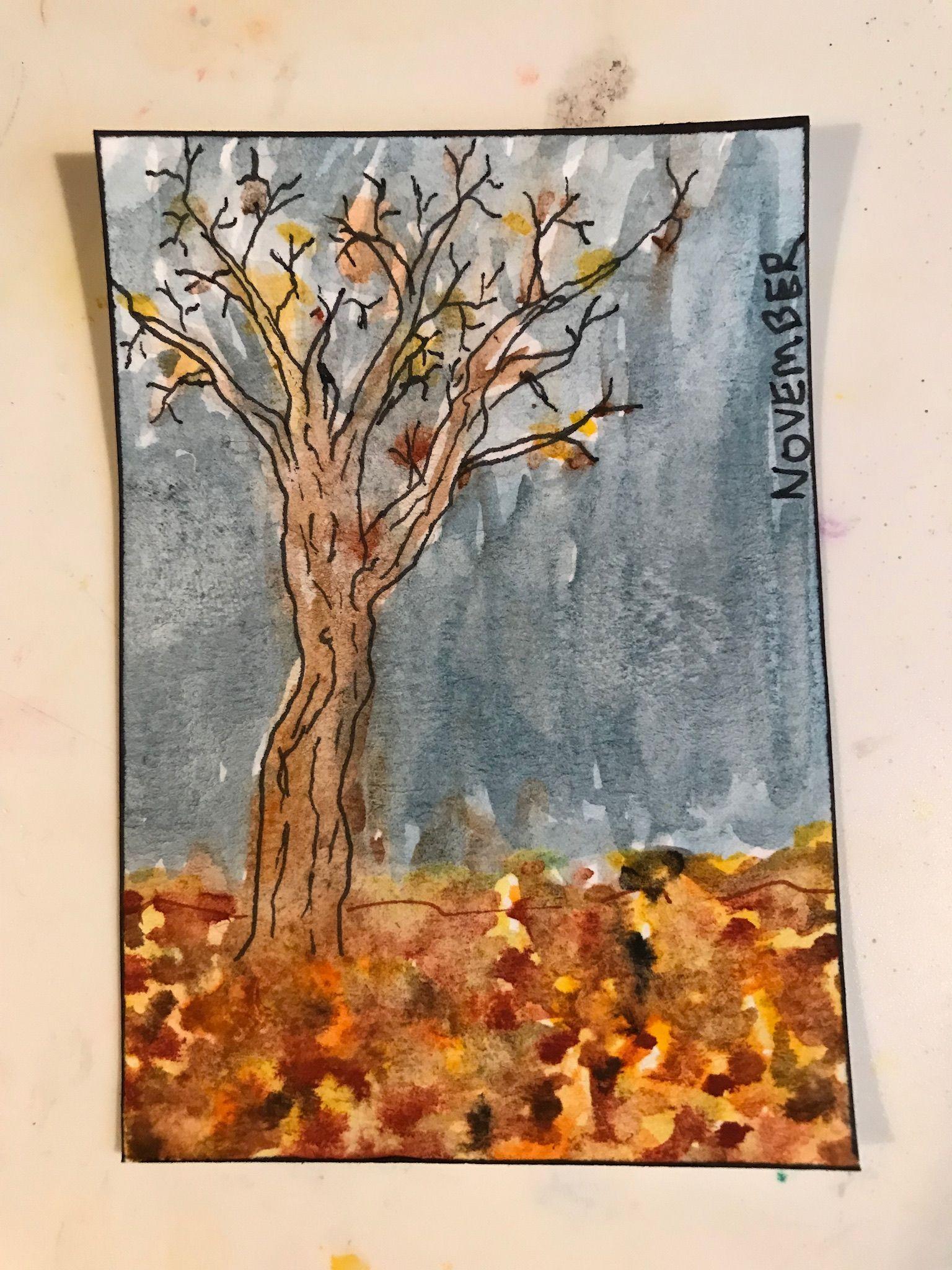 November Atc Watercolor Pen Pen And Watercolor Art Painting