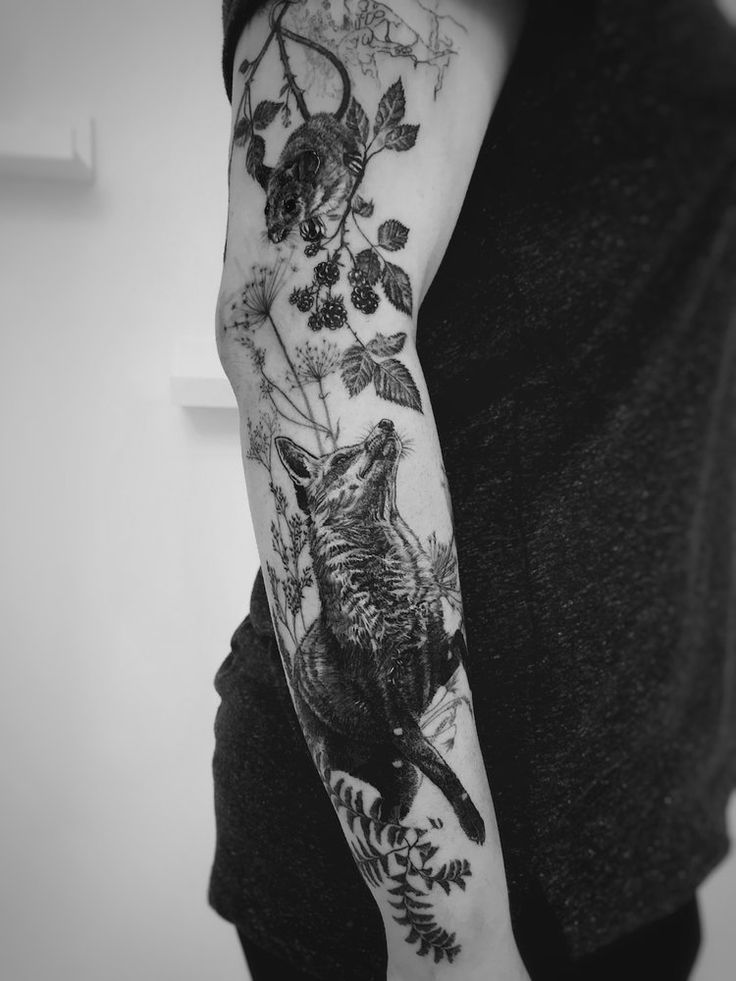 Photo of Realistic nature tattoo with fox, mouse and blackberries for women EmmaEmma – # …