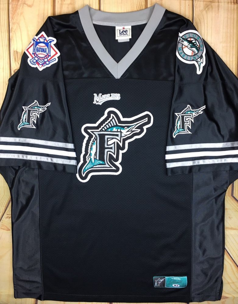 pretty nice 16528 ac433 Vintage Florida Marlins Jersey National Patch Sewn Throwback ...