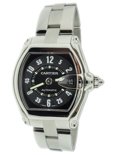 Stainless Steel Men's Cartier Roadster Black Dial Watch.