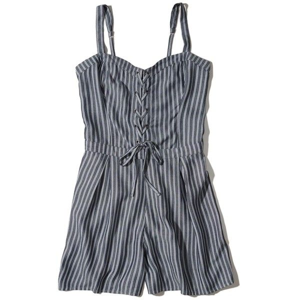 2193c3aa62866 Hollister Lace-Up Corset Romper ($40) ❤ liked on Polyvore featuring  jumpsuits, rompers, navy stripe, playsuit romper, navy blue romper, stripe  romper, ...