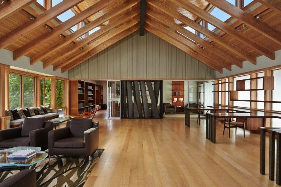 interior design of bungalow houses%0A modern interior design with wooden ceiling  stone fireplace and unique  furniture