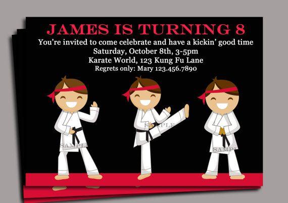 Karate Invitation Printable Chop Kick By ThatPartyChick 1500