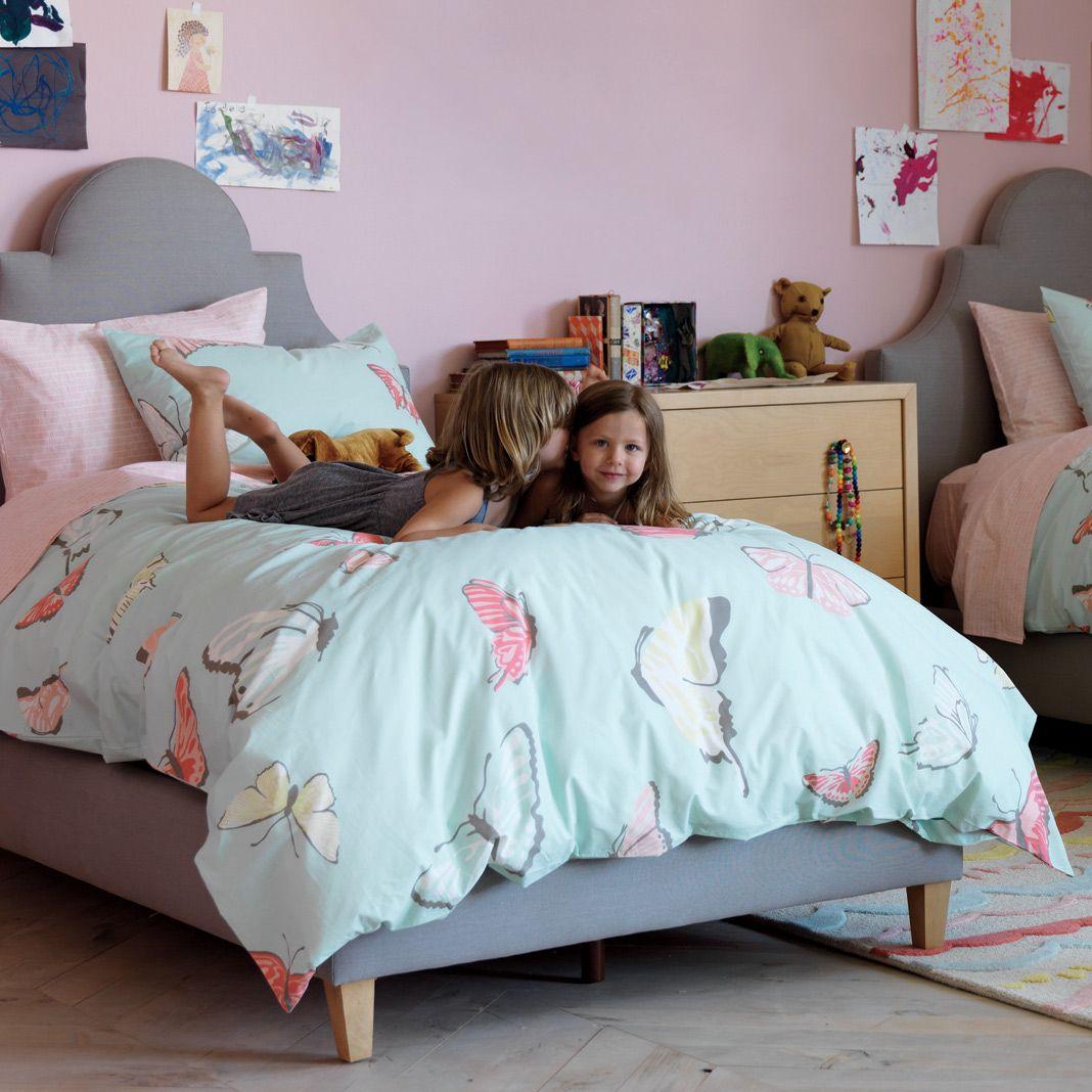 sooooo pretty i want this for aubrey's room dwellstudio kids  - great for girls room  dwellstudio kids bedding butterflies robins eggduvet set