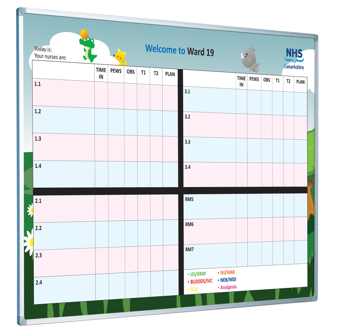 This is a custom printed ward whiteboard design. The