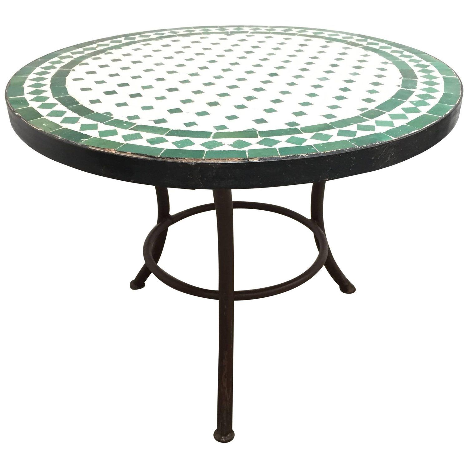 Moroccan Mosaic Tile Outdoor Side Table On Low Iron Base Green And