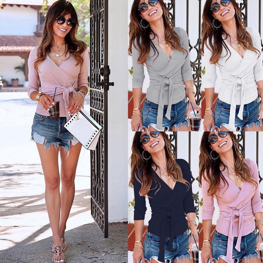 Women Fashion Long Sleeve V Neck Pullover Wrap Slim Fits Tops Blouse T-shirt