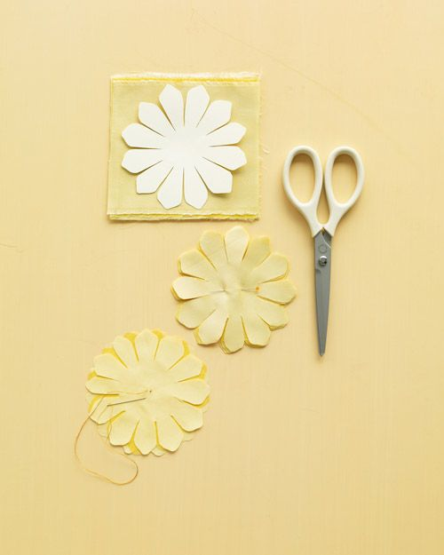 Beginning stages of fabric flowers (from Martha Stewart)