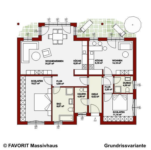 Einfamilienhaus mit kleiner einliegerwohnung grundriss  Favorit Massivhaus - Massivhaus Chalet 122 - Bungalow mit ...