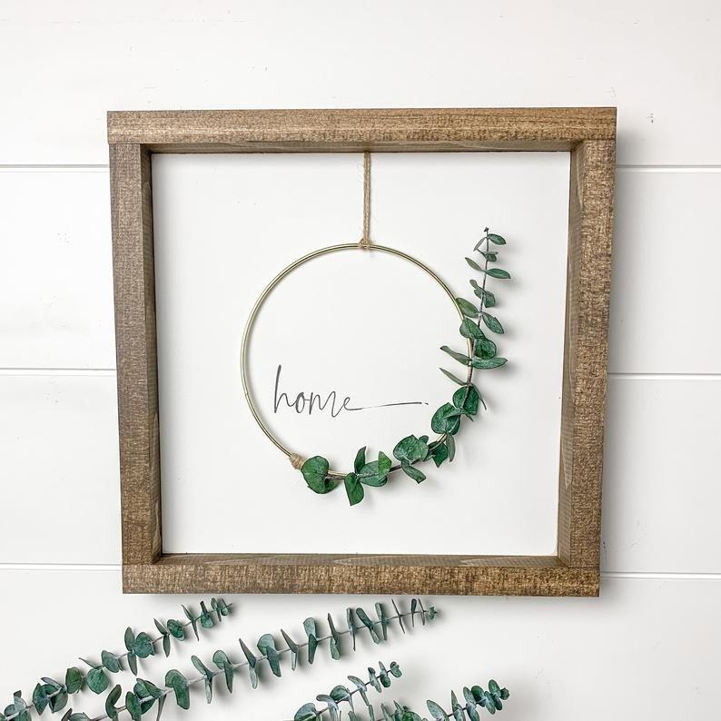 Photo of Eucalyptus wreath   Hoop wreath   wreath sign   hoop wreath sign   home sign   minimalist art