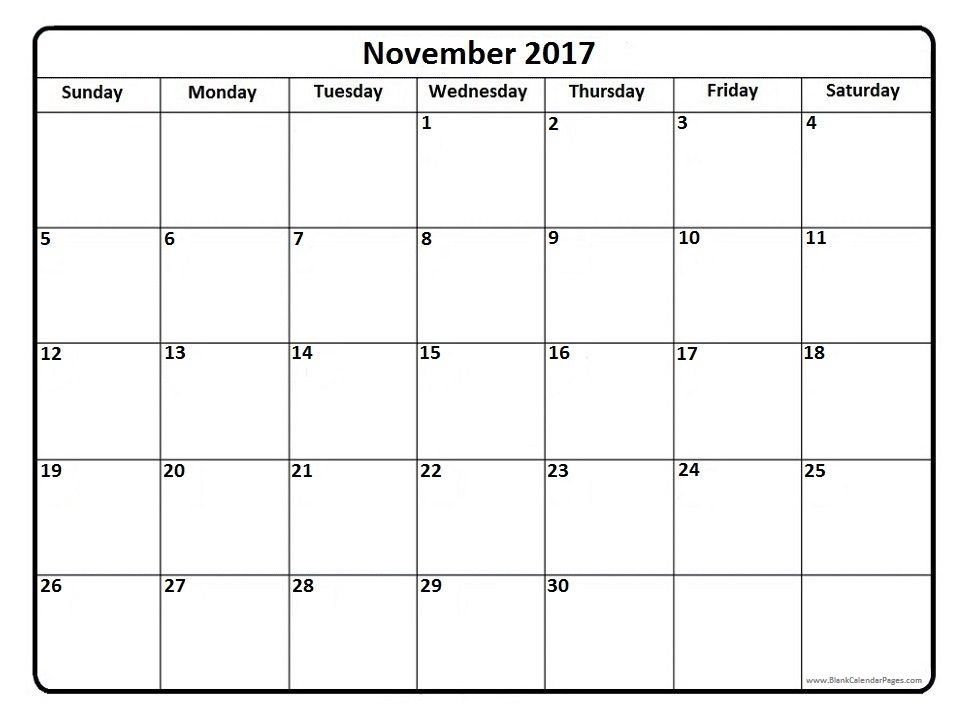 November 2017 printable calendar page It Works Pinterest - free blank calendar