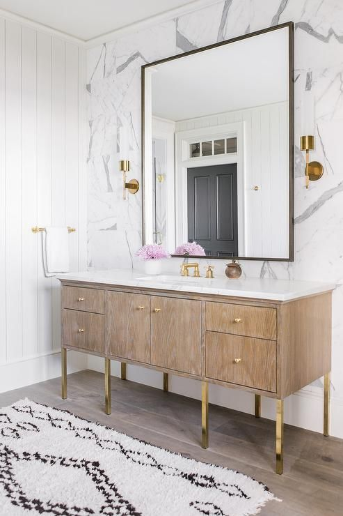 brushed oak bath vanity accented with polished brass legs finished rh pinterest com