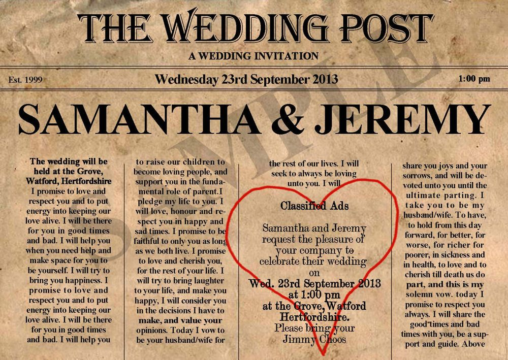 Details about PERSONALISED VINTAGE NEWSPAPER WEDDING INVITATIONS x - old newspaper template