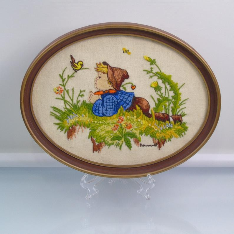 Vintage Hummel Embroidery Framed  Crewel Art  Child Sewing with Bird