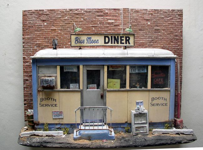 Tim prythero blue moon diner 14 h x 20 w x 6 d mixed media one of a kind sculpture die - Casas en escena ...