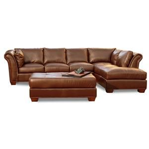 8650 Transitional Leather Sectional With Raf Chaise By Usa Premium Hudson S Furniture Sofa Tampa St Petersburg Orlando Ormond Beach