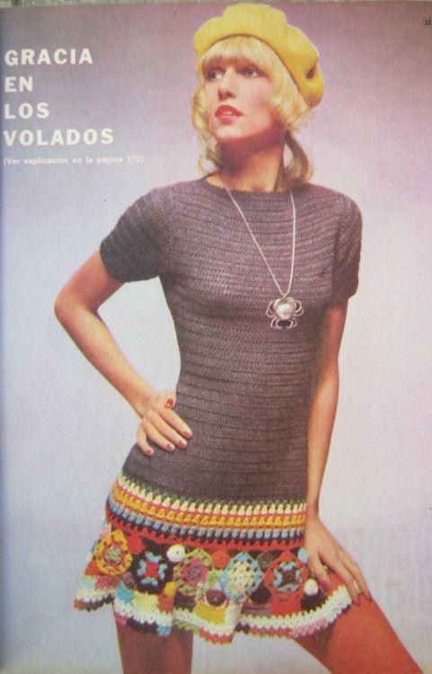 Años \'70 - Vestido tejido a crochet (ganchillo)   Belleza Años 70 ...