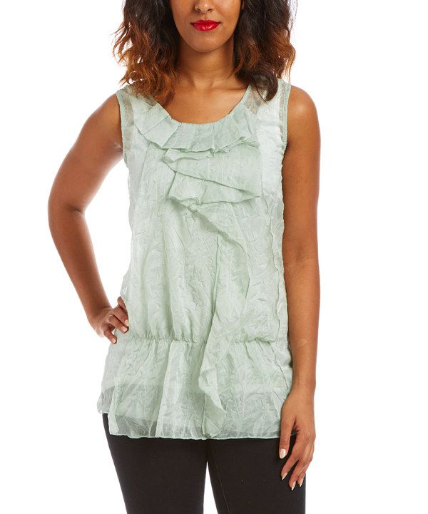 Look at this Green Ruffle Sleeveless Top on #zulily today!