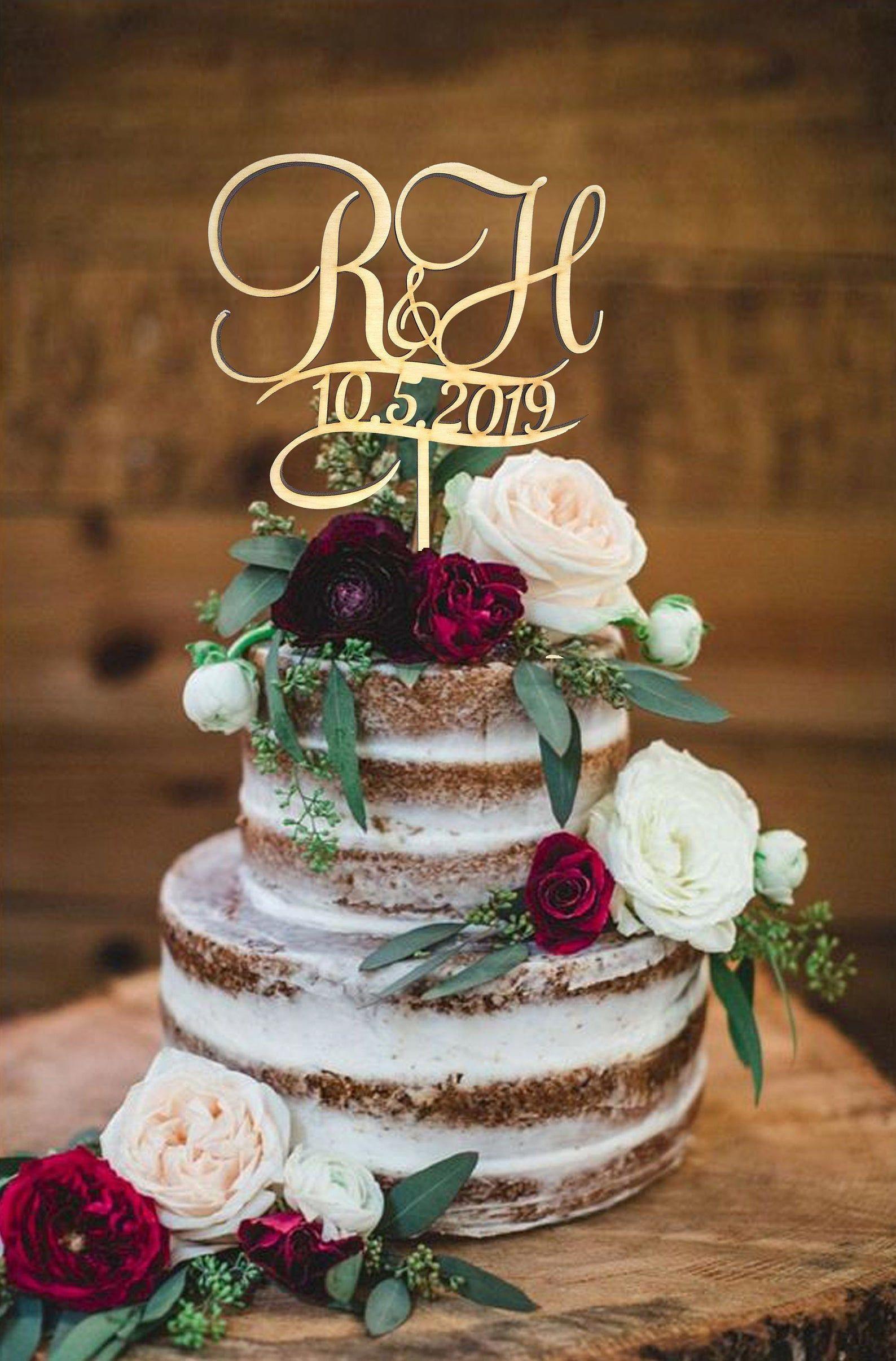 H Cake Topper Date Cake Topper R Rustic Weding Cake Topper Etsy In 2020 Rustic Wedding Cake Personalized Wedding Cake Toppers Rustic Wedding Cake Toppers