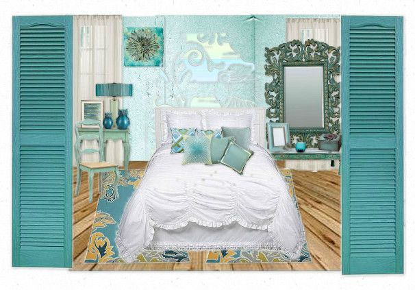 turquoise bedroom by dianap | Olioboard