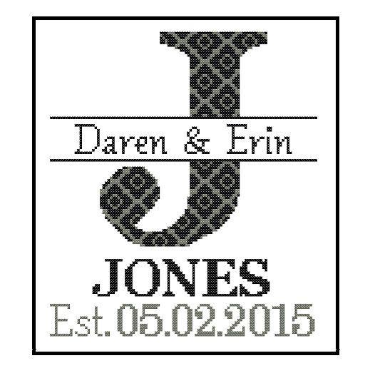 Modern wedding cross stitch Pattern Custom Monogram Cross Stitch ...