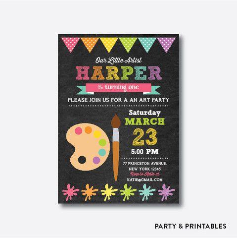 Art Pink Chalkboard Kids Birthday Invitation / Personalized (CKB.88)
