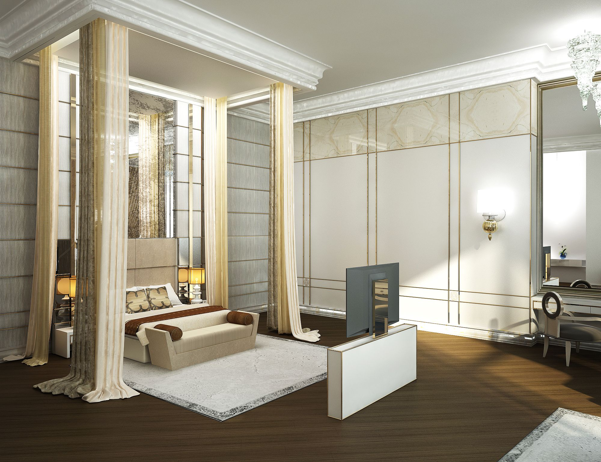 Renders 3d For Master Bedroom Project: Master Suite, Master Bedroom, Royal Suite Bedroom, Luxury