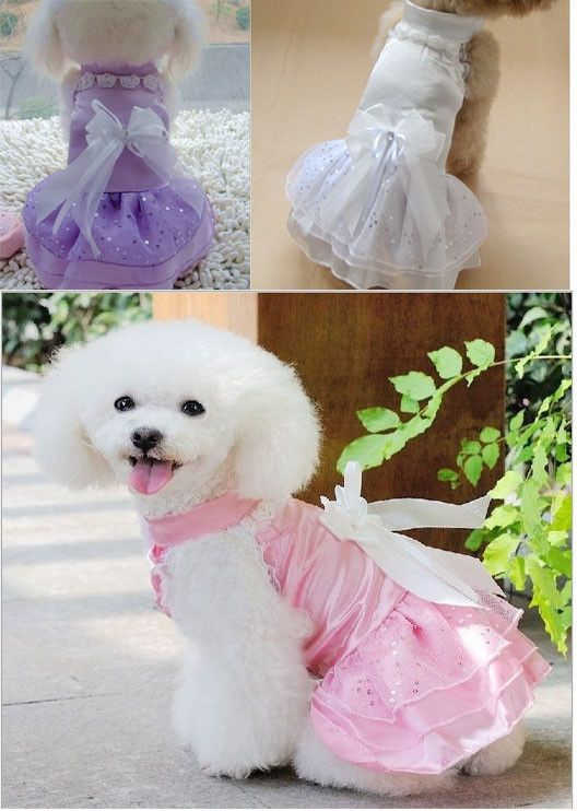 Hot Small Pet Dog Clothes Girl Princess Formal Gown Suit Set