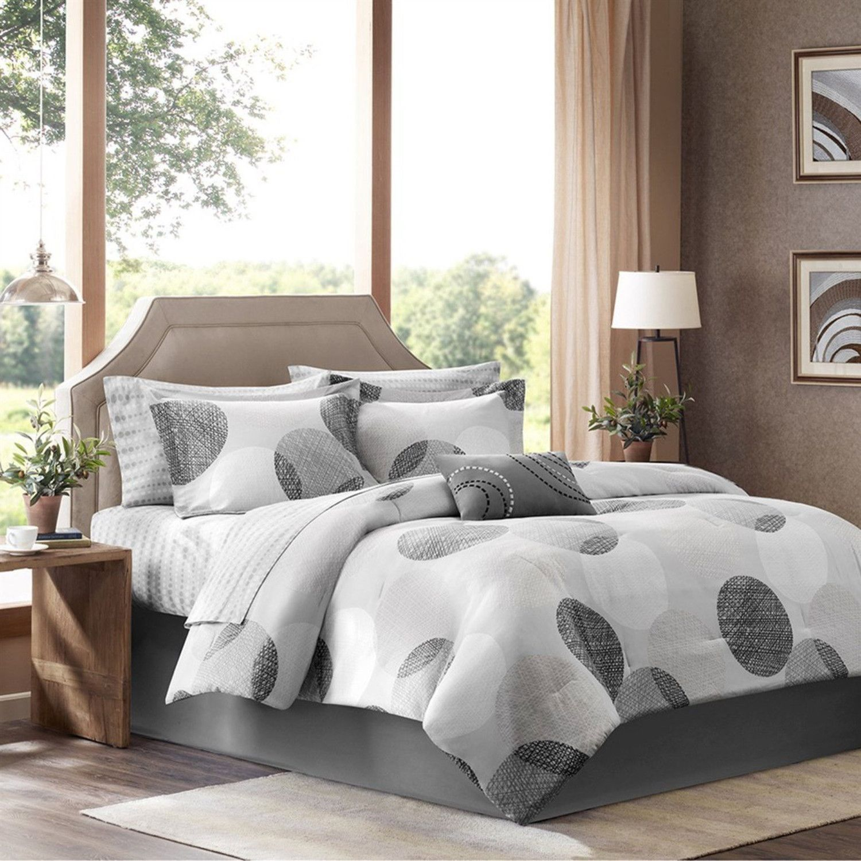 King Size Modern 9 Piece Bed Bag Comforter Set With Grey Circles Comforter Sets Grey Comforter Sets King Size Comforters