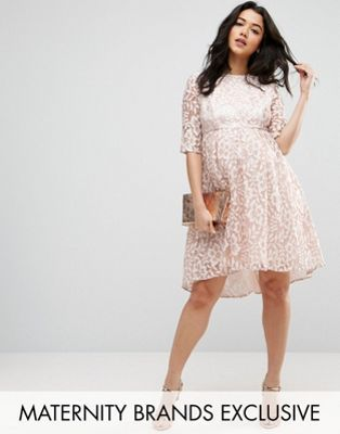 2d17d293c6f69 Chi Chi London Maternity Allover Lace Dress With Dip Hem | My Style ...