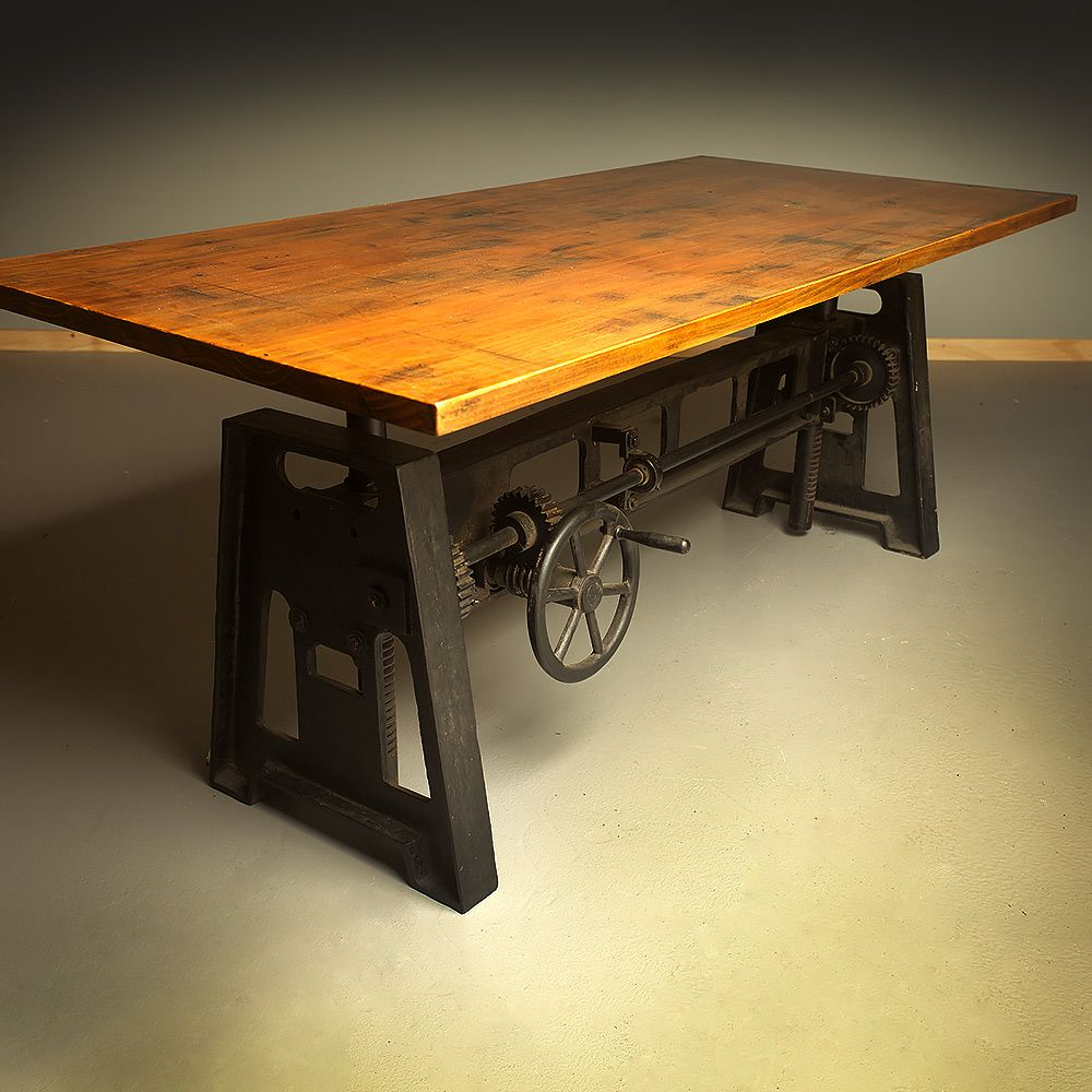 cast iron adjustable height crank table rh pinterest com